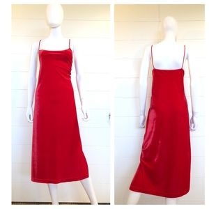 VTG 90s Velvet Red Slip Dress Large Midi